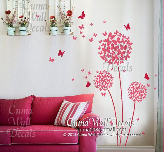 Butterfly Flowers Nursery Ideas For MMK Pinterest Dandelions - Vinyl wall decals butterflies