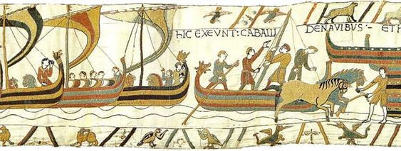 The Norman Invasion, Landing in England scene from the Bayeux Tapestry, depicting ships coming in and horses landing