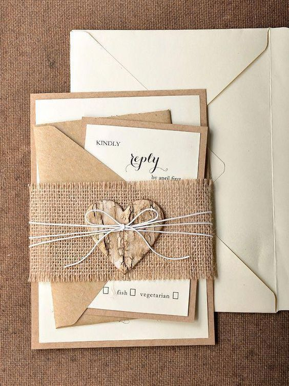 Rustic Wedding Invitations With Burlap And Wooden Heart Tag Cheap Wedding Invitat Beach Wedding Invitations Wedding Invitations Diy Wedding Invitations Rustic