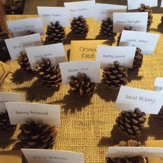 Continuing the #christmastheme with these cute #placecards from #kdawgandgibbo s #wedding last wknd #pinecone #christmaswedding #countryhouse #countrywedding #placenames #tablesetting #tabledecor #winterdecor #winterwedding #novemberwedding #november #errolpark #errolparkestate #weddingblog #weddingblogger #tableplan #weddingtable #devinebride