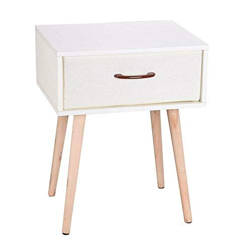 Sofa Bed Side End Table Accent Nightstand Living Room w// Drawer and Wooden Legs