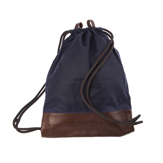 Leather and waxed cotton Gymbag Choclate Navy Ltd. Edition Leather by Swiss Brand Dusagg.