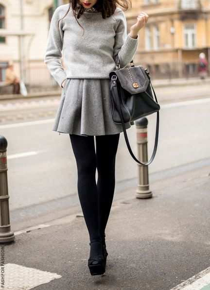 Gray sweater skirt black leggings boots. Street autumn women fashion outfit clothing style apparel @roressclothes closet ideas
