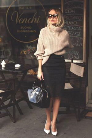классический образ со свитером и юбкой