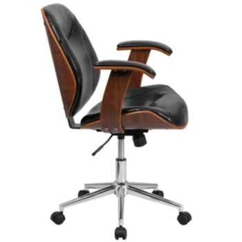 Mid Back Black Leather Executive Wood Swivel Chair With Arms Black Wood Office Chair Swivel Office Chair Wood Chair