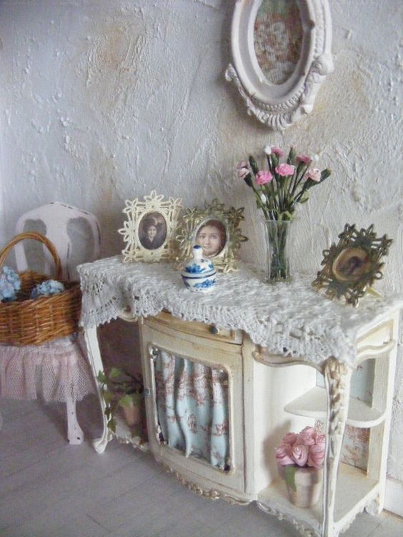 12th scale shabby chic sideboard by shabbychicminis on Etsy, $110.00