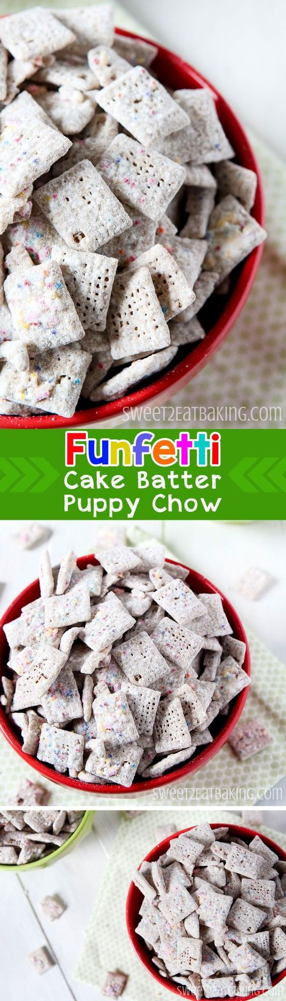 Funfetti Cake Batter Puppy Chow (Muddy Buddies) Chex Recipe by Sweet2EatBaking.com | You can really taste the cake batter in this recipe, and the white chocolate really compliments that flavour too. The Chex cereal and the sprinkles add a nice crunch to the smooth cake batter flavoured white chocolate. Ideal for a birthday party, a dessert, to take to the movies, or a sweet snack whenever!