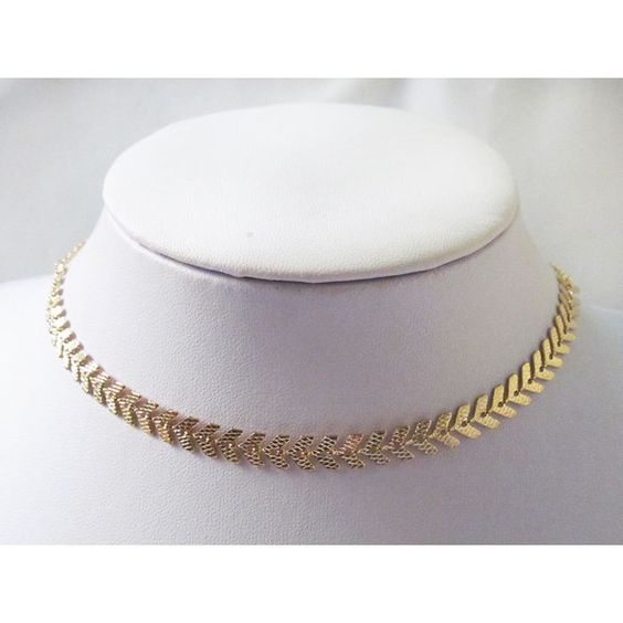 fish bone gold choker necklace, gold choker necklace, chocker... (€26) ❤ liked on Polyvore featuring jewelry, necklaces, collar necklace, gold choker, choker necklace, gold choker necklace and yellow gold necklace