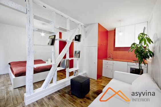 Thiết kế nội thất chung cư mini với vách ngăn sáng tạo