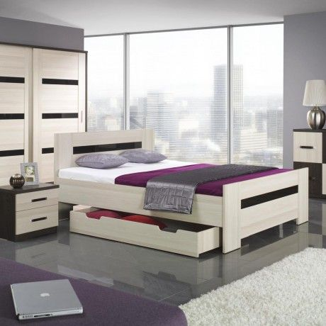 Contemporary bedroom furniture design with white stained wooden bed with trundle come with black nighstand feature white drawer plus dresser and white black wardrobe a part of  under Bedroom