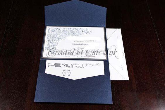 navy letterpress pocketfold wedding invitation created at Chic Ink