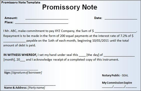 Note Payable Template Template IdeaDemand Promissory Note