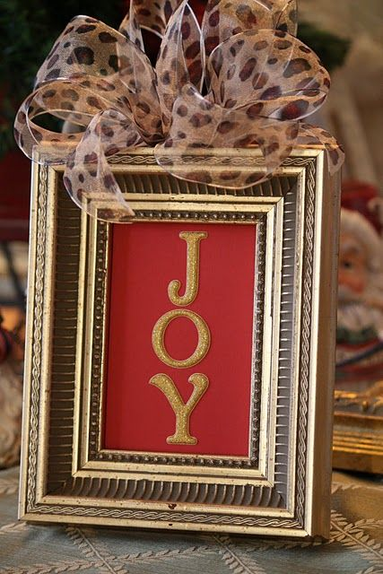 frame christmas card and hot glue a pretty bow to it!