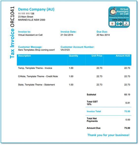 Xero Template - Delivery Docket Xero Customized Templates - delivery docket