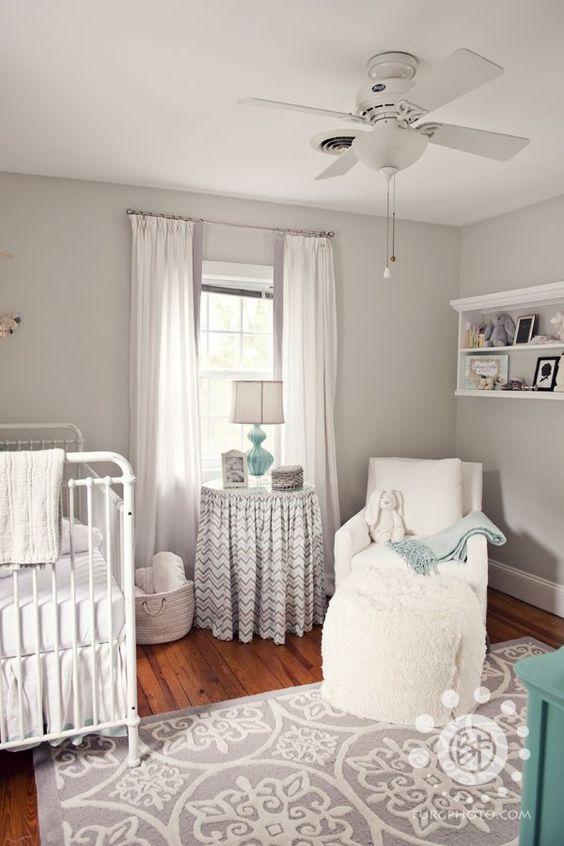 neutral nursery - double curtains - look white but grey will still block sunlight.