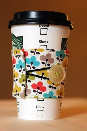 Fabric Coffee Sleeve - not having my own sewing machine is apparently not going to deter me, because I must have one of these!!