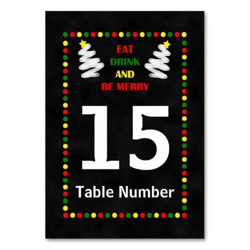 Chalkboard Christmas Table Numbers Cards Table Card