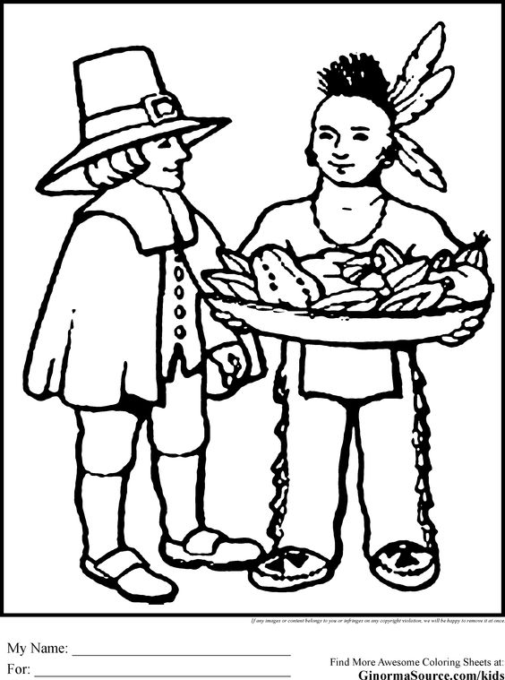 Pilgrims first thanksgiving coloring pages ~ Pilgrims Coloring Pages Thanksgiving | Coloring Pages ...
