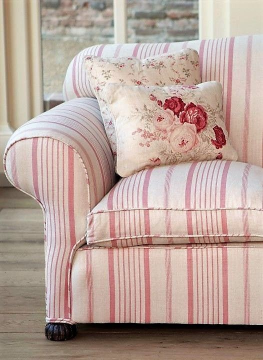 Stripes And Florals For The Living Room Shabbychicfurnituresofa Shabby Chic Furniture Shabby Chic Decor Country Cottage Decor #shabby #chic #sofas #living #room #furniture