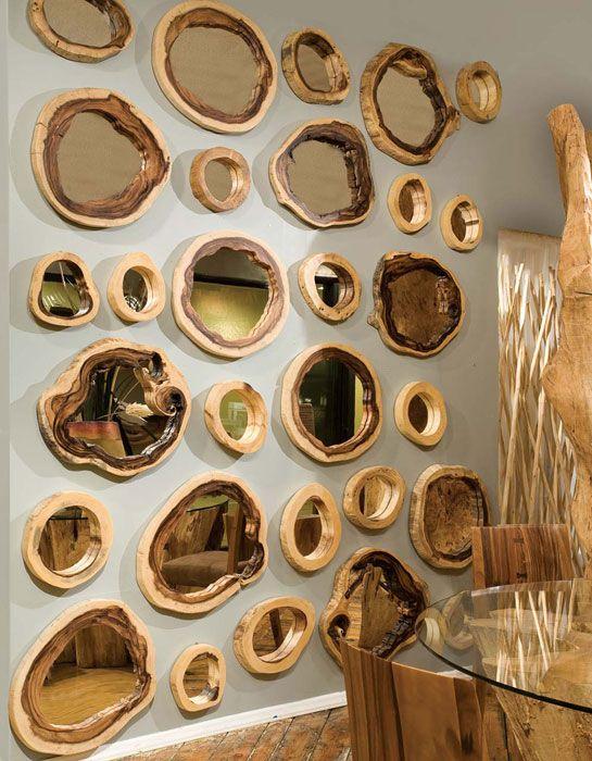 espejos con marco de madera de tronco