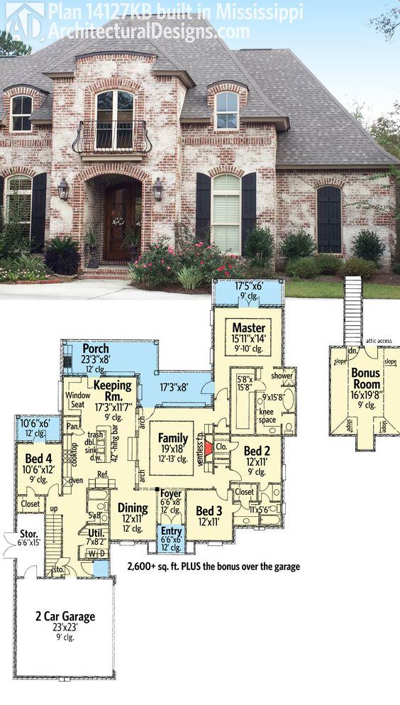 Plan 14127kb graceful and elegant 4 bed acadian house for Acadian house plans with bonus room