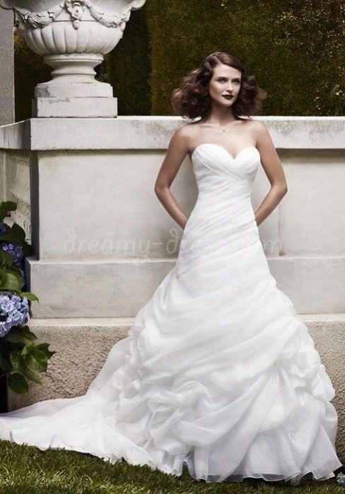 Simple Organza A Line Sweetheart Ruching Ruffles Draping Chapel Train Wedding Dress