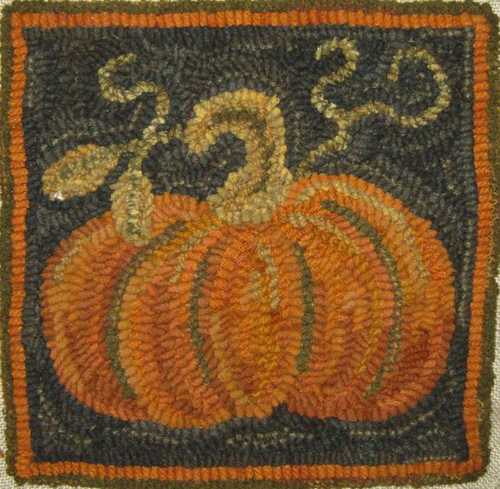 PUMPKIN hooked rug; nice contour, great use of taupe-grays for the background & the contour lines of the pumpkin.  Love these colors together!