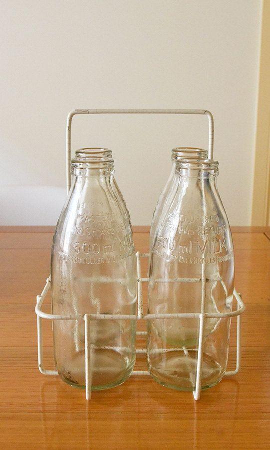 vintage milk bottles and carrier bottle vintage and. Black Bedroom Furniture Sets. Home Design Ideas