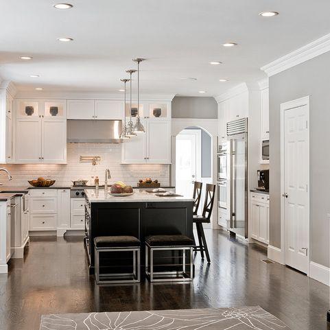 U shaped kitchen with narrow center island home design for U shaped kitchen designs with island