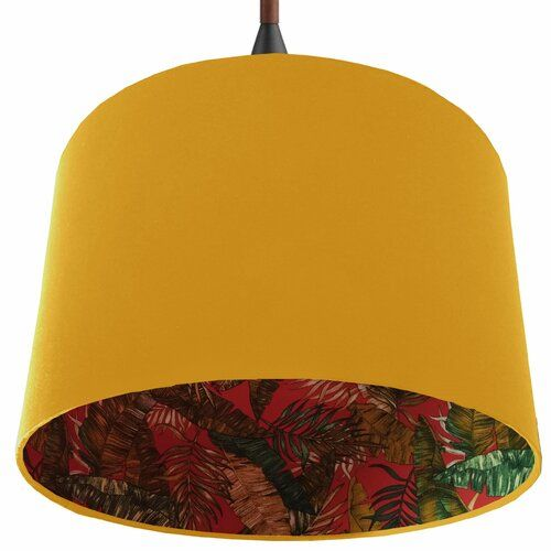 40cm Navy Blue Large Pendant Light Shade With Red And Green Botanical Print Fabric Lining Tropical Lamp Shade Brayden Studio Colour Yellow Size 24 Tropical Lamp Shades Large Pendant Lighting Light Shades