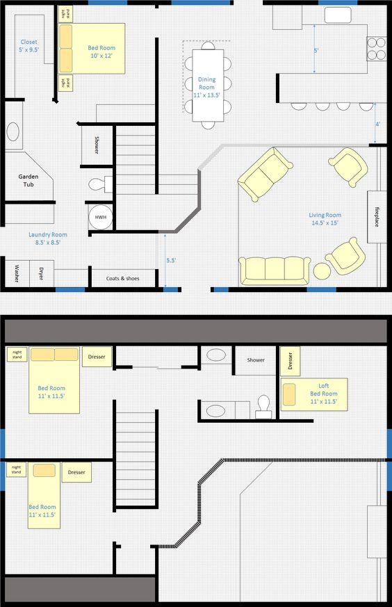 30 x 40 4 bedroom 2 bathroom rectangle barn house with for 30x40 2 story house plans