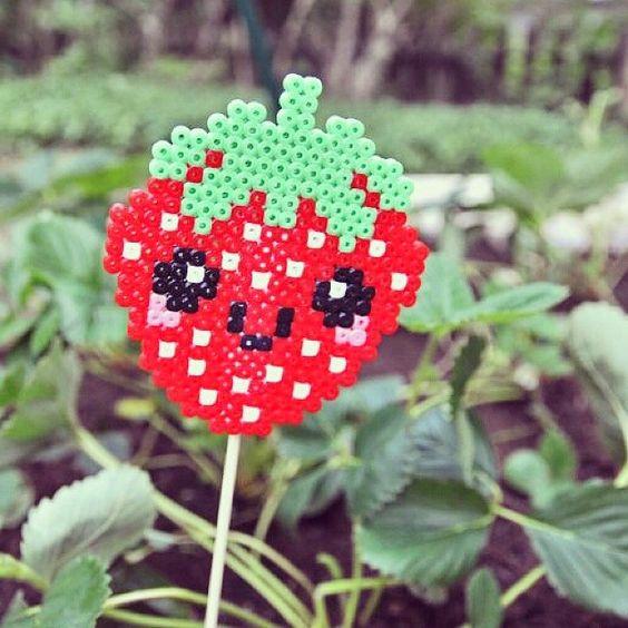 Strawberry garden stick hama perler beads by shirley117