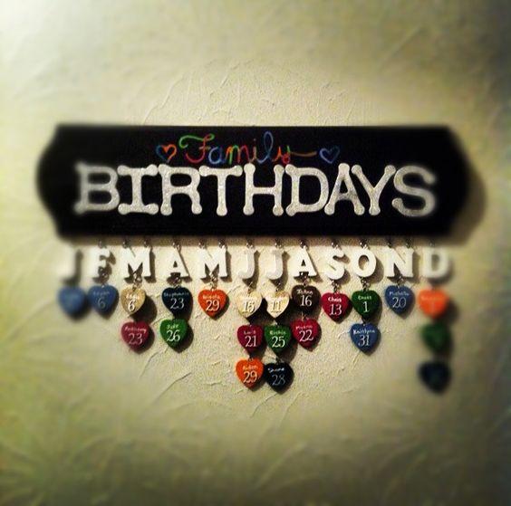 Family birthday calendar. We need this!!