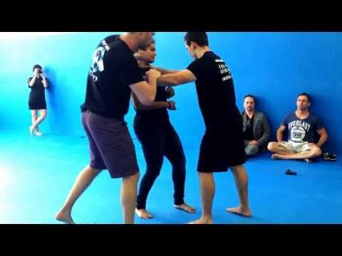 Krav Maga: Third party protection against a choke and gun Sept 2013 - YouTube