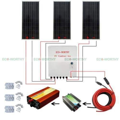 Eco 300w 12v Off Grid System Kit 100w Solar Panel Combiner Box 1000w Inverter 12v Solar Panel Solar Panels Solar Generators
