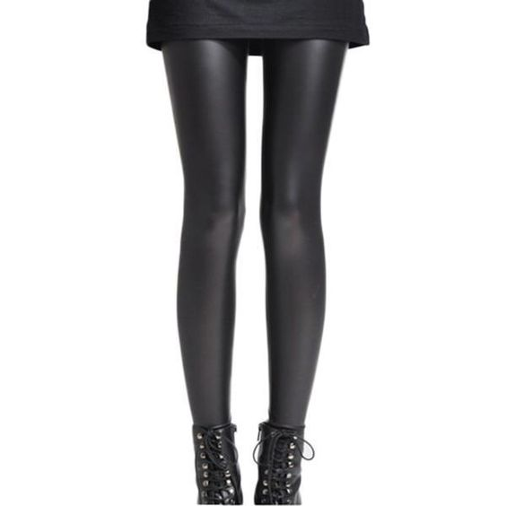 Black Faux PU Leather Sexy Leggings Skinny Pencil Render Pants Trousers Hot Slim #Unbranded