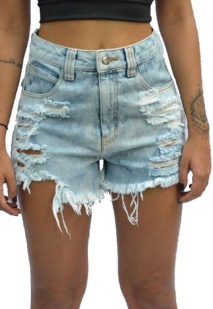 Shorts Jeans Hot Pants Ella Jeans Destroyed Azul - Marca Ella Jeans