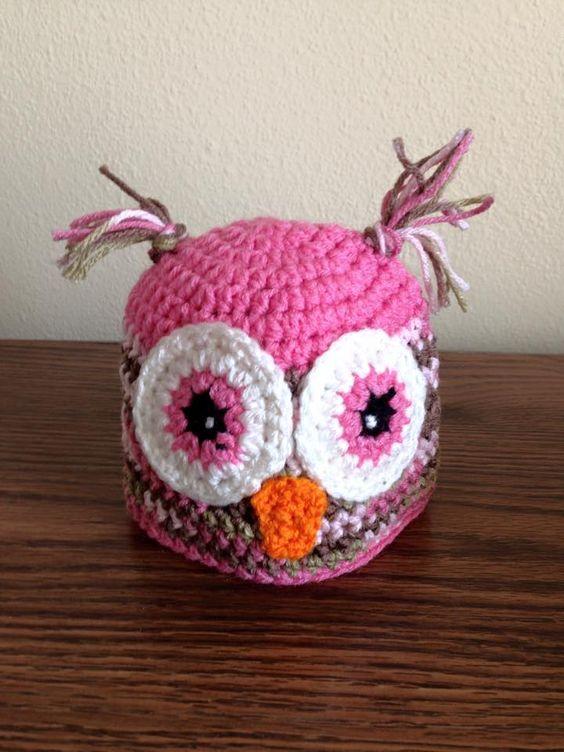 crochet pink owl hat