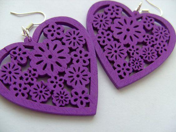 Purple deep purple  wooden wood earrings love by NewellsJewels, £4.00