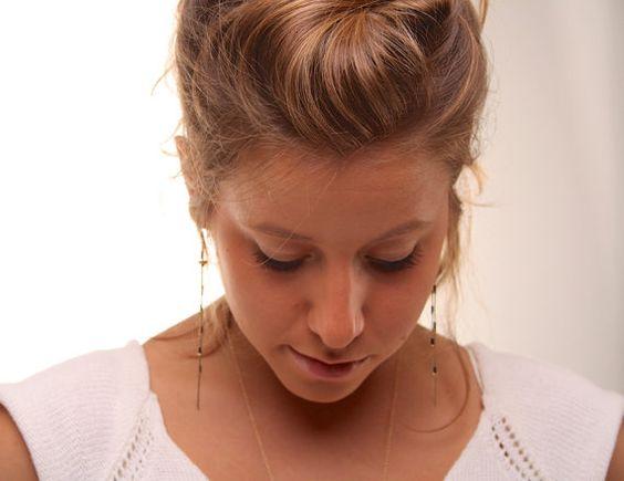 Long chain earrings gold chain earrings long gold by SharonTasker