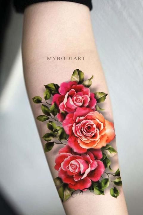 Cynthia Vintage Watercolor Floral Rose Temporary Tattoo Arm Sleeve Tattoos Tattoos Mother Tattoos