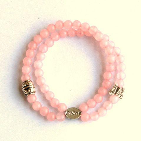 Rose Quartz  Fertility Charm Bracelet