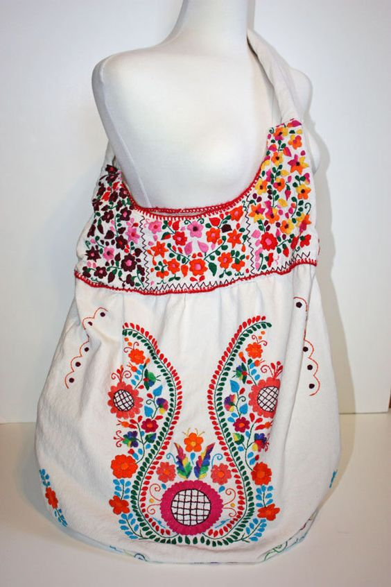 Huge vintage oaxaca market mexican boho embroidered tote
