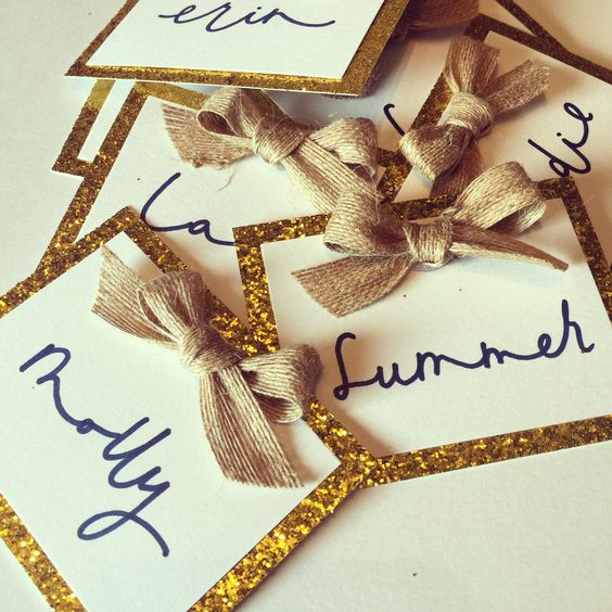 Gold and Navy with burlap | 2016 Sorority Name Tags