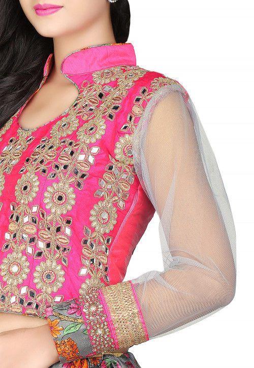 Utsav Fashion Dupion Silk and Net Blouse in Fuchsia