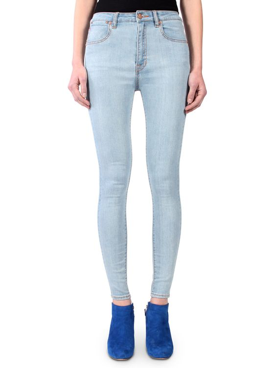 Light Washed High Waisted Women's Denim Jeans. Color name: Sky