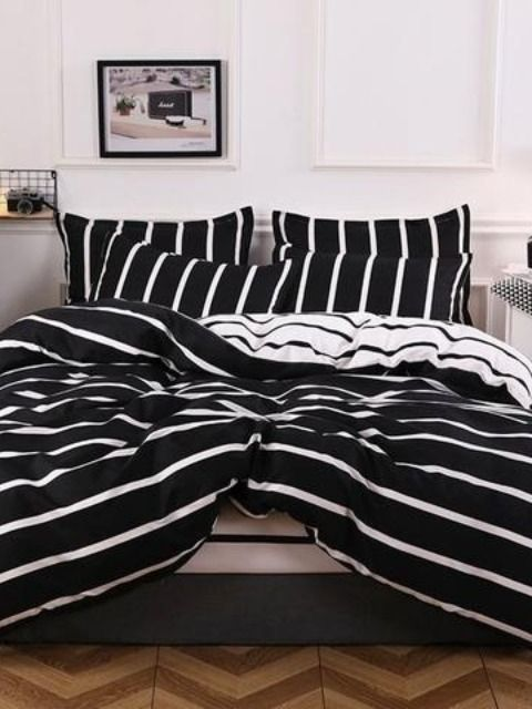 Comfy Black And White Striped Comforter Set In 2020 With Images Bed Linens Luxury White Linen Bedding Luxury Bedding Master Bedroom