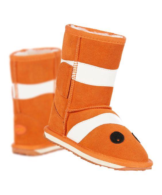 EMU Australia Orange Clownfish Little Creatures Suede Boot - Kids | zulily