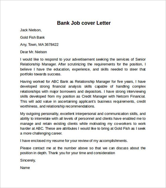 cover letter example for job download free documents word bank - bank application