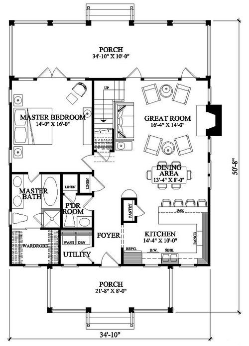 House Plan 7922 00053 Coastal Plan 1 957 Square Feet 4 Bedrooms 3 Bathrooms Coastal House Plans Beach House Plans Country Style House Plans